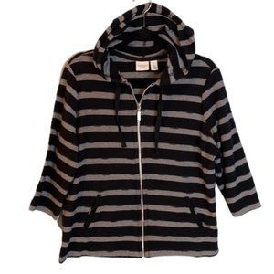 Weekends By Chico's Hooded Zipper Sweater Top